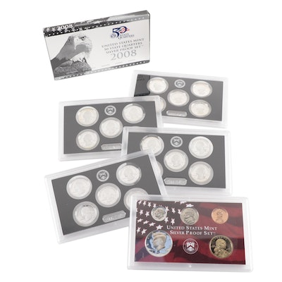 Modern US Mint Silver Proof Set and Commemorative Quarters Silver Proof Sets