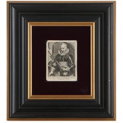 """Etching after Pieter de Jode II """"Portret van Lucas Cayro, baron van Moorsel"""""""