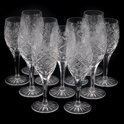Cut Crystal White Wine Glasses, Mid-20th Century
