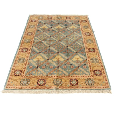 4'9 x 7'2 Hand-Knotted Peshawar Wool Rug