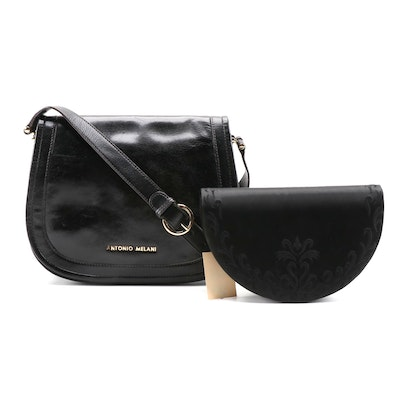 Antonio Melani Leather Crossbody Bag and Carolyne Barton Parisian Satin Clutch