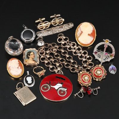 Assorted Jewelry Including Shell, Quartz, Glass and Enamel