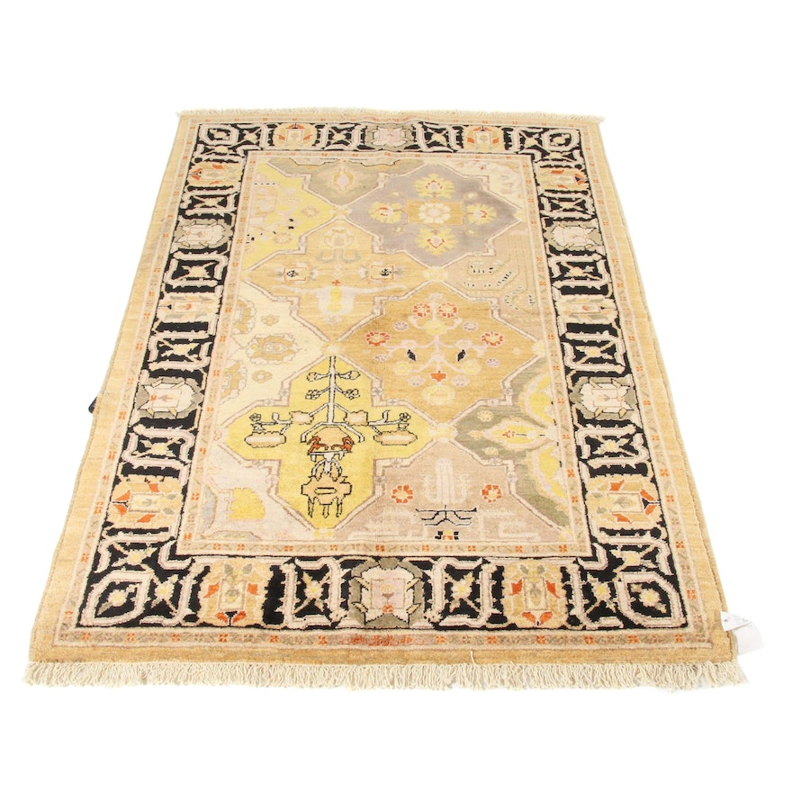 4'2 x 6' Hand-Knotted Peshawar Wool Rug