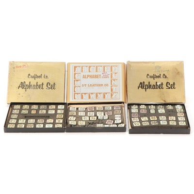 Three Sets of Metal Crafting Alphabet Stamps, Mid-20th Century