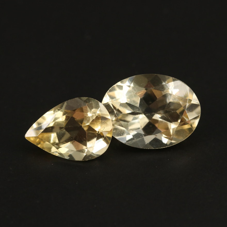 Loose 12.07 CTW Oval and Pear Faceted Citrines