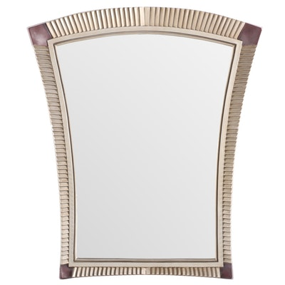 Modernist Flared Pleat-Carved and Beveled Frame Hanging Mirror, Late 20th C
