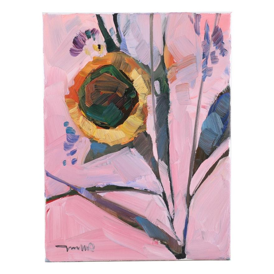 "Jose Trujillo Oil Painting ""Blooming Sunflower,"" 2020"