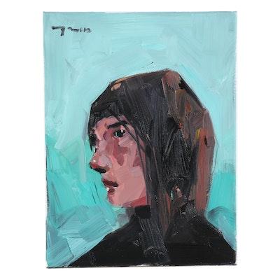 "Jose Trujillo Oil Painting ""Wallflower,"" 2020"