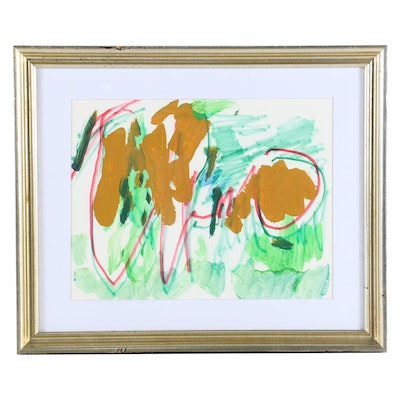 Paul Chidlaw Mixed Media Painting of Abstract Composition, Late 20th Century
