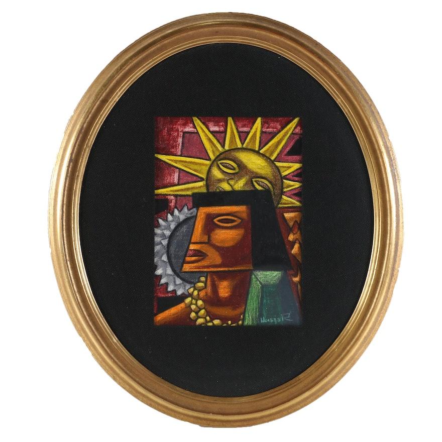 Raphael Moises Gouache Painting of Mesoamerican Figure in Profile