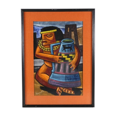 Raphael Moises Gouache Painting of Mesoamerican Figure with Pottery
