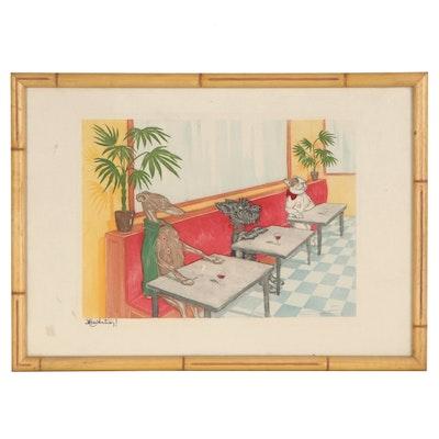"Boris O'Klein Hand-Colored Etching with Aquatint ""Hesitation!"""
