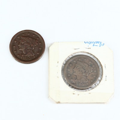 Braided Hair US Large Cents, 1849 and 1853