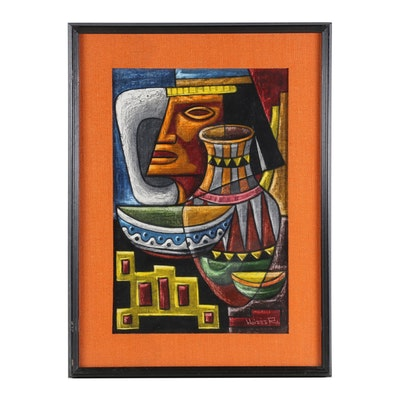 Raphael Moises Gouache Painting of Mesoamerican Bust and Vase