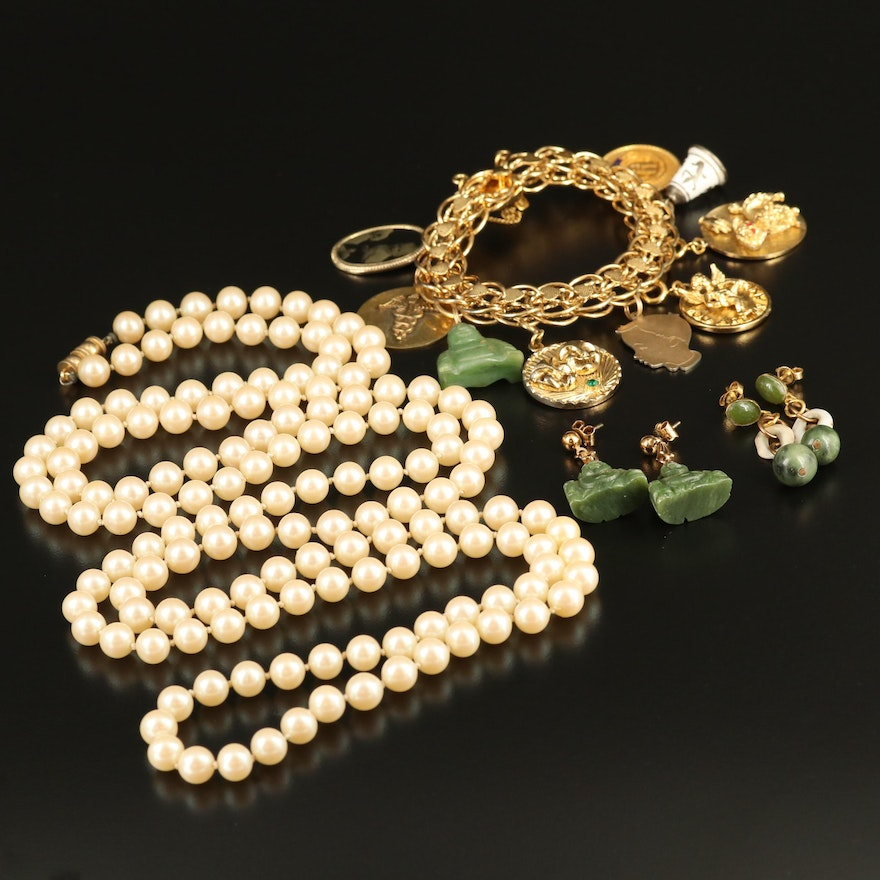 Collection of Jewelry Including Faux Pearl Necklace and Charm Bracelet