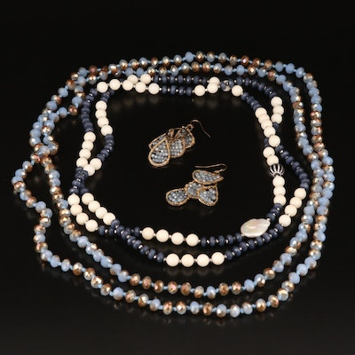 Jewelry Selection Featuring Pearl, White Coral, Hematite and Quartz Accents