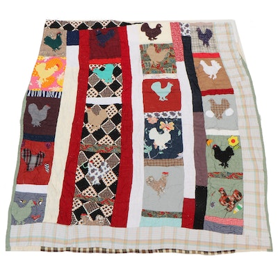 Maylisa Jackson Handmade Cotton and Blended Fabric Chicken Appliqué Quilt