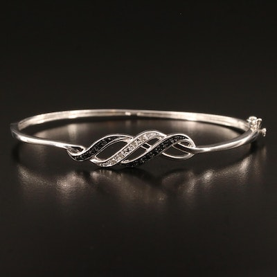 Diamond Hinged Bangle with Ribbon Motif