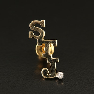 "14K Diamond ""STJ"" Pin"