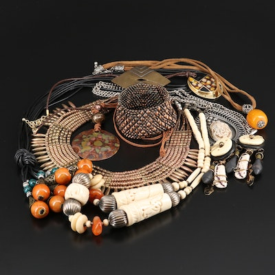 Selection of Beaded Jewelry Including Bone and Glass