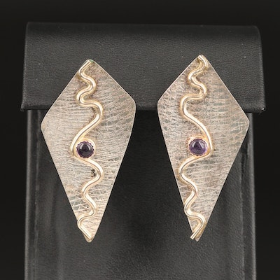 Sterling Silver Textured Earrings with Amethyst
