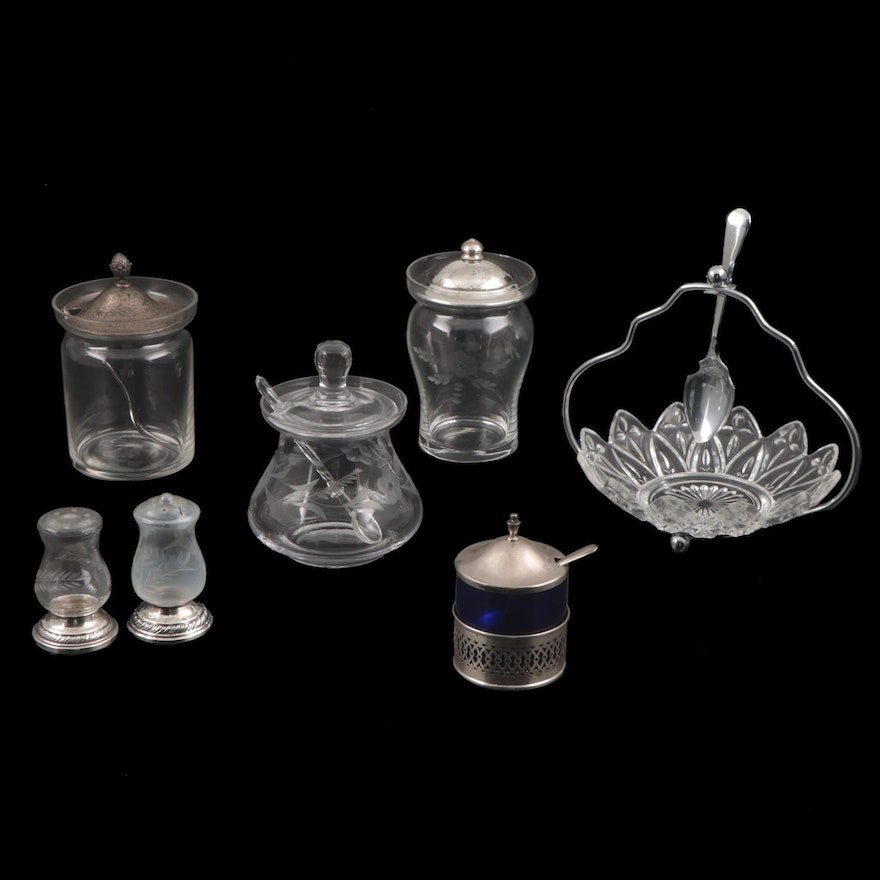 Webster Sterling Silver and Glass Jam Jar and Other Tableware, Early-Mid 20th C