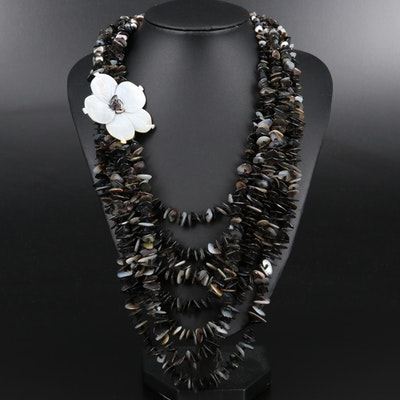 Mother of Pearl and Shell Multi Strand Necklace