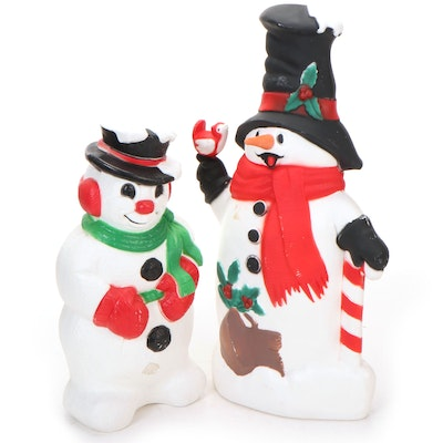 Illuminated Plastic Blow Mold Snowmen Lawn Décor, Mid to Late 20th Century