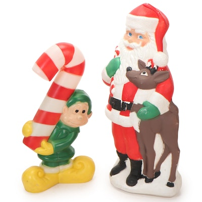 Illuminated Blow Mold Santa and Elf Lawn Décor, Mid to Late 20th C.