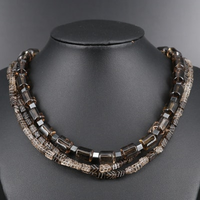 Smoky Quartz Multi Strand Beaded Necklace with Sterling Silver Clasp