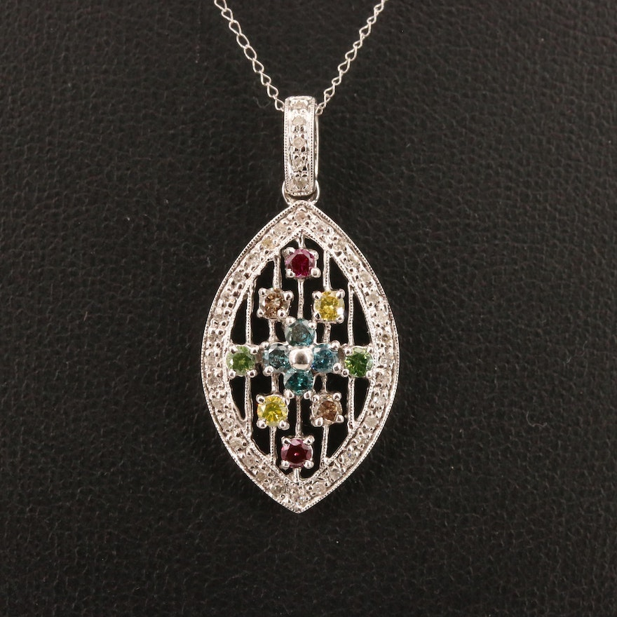 10K Multi-Colored Diamond Navette Pendant Necklace