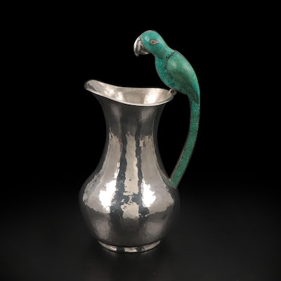 Taxco Silver Plate Pitcher with Chipped Turquoise Parrot Handle