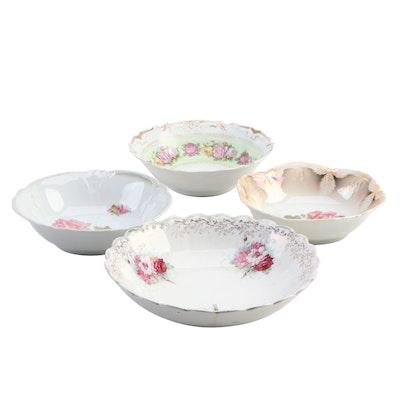 Decorative Floral Motif Porcelain Bowls Featuring Lehmann Arzberg