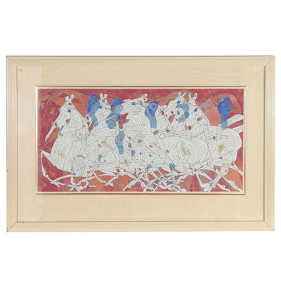 "Jiang Tie-Feng Equine Serigraph ""Speed,"" Mid 20th Century"