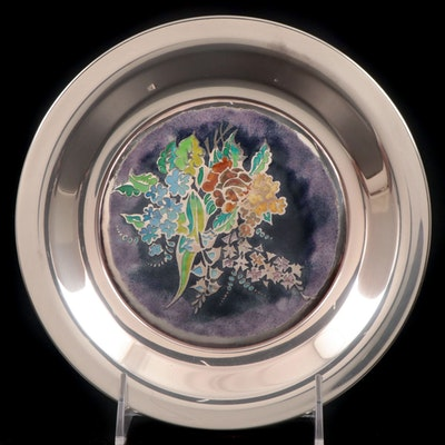 """Franklin Mint """"Spring Blossoms"""" Champlevé Enameled Sterling Collector Plate"""