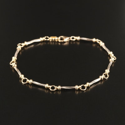 14K Twisted Bar Link Bracelet