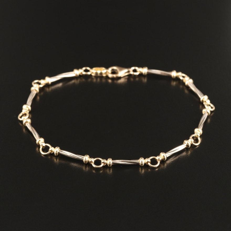 14K Twisted Bar Link Bracelet