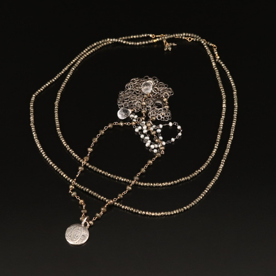 18K Pyrite Necklace Plus Sterling Pearl and Pyrite Necklace