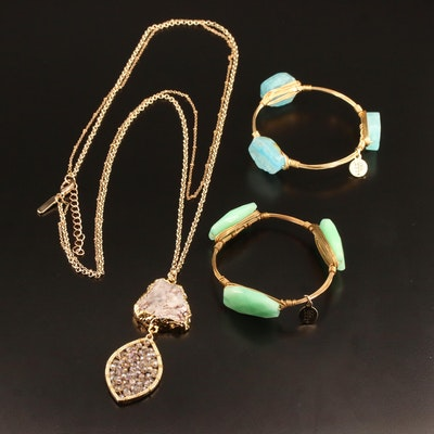 Jewelry Selection Featuring Bourbon and Bowtie Bracelets with Pendant Necklace
