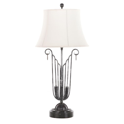 Maitland-Smith Metal Table Lamp with Faux Marble Base, Late 20th Century