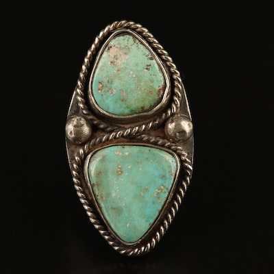 Sterling Triangle Turquoise Cabochon Ring