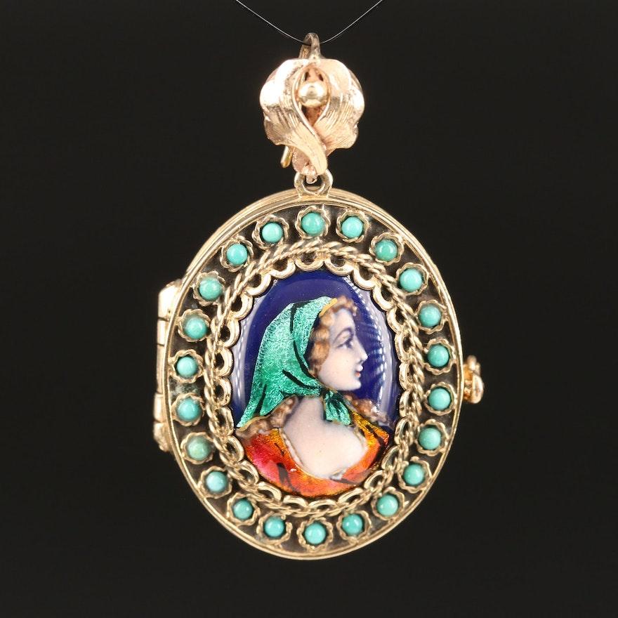 Vintage French 14K Turquoise and Champlevé Enamel Enhancer Locket