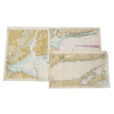 NOAA Nautical Charts of Long Island Sound and New York Harbor, Late 20th Century