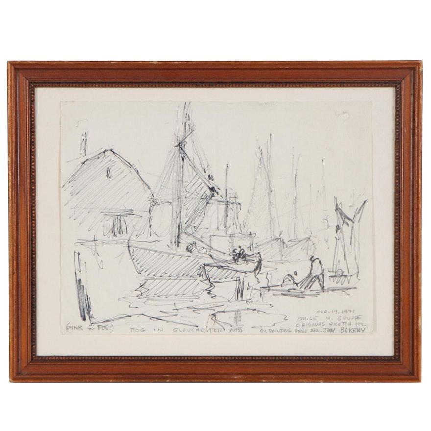 "Emile Gruppé Ink Sketch ""Fog in Gloucester Mass.,"" 1971"