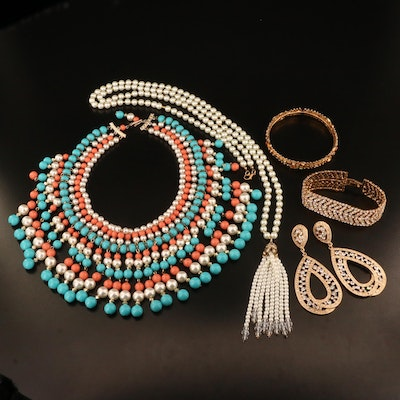 Assorted Jewelry Including Faux Pearl, Faux Coral, Rhinestones and More