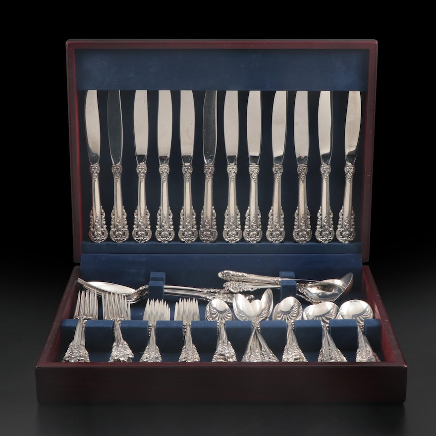"Wallace ""Grand Baroque"" Sterling Silver Flatware Set and Serving Utensils"