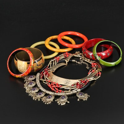 Bracelet and Necklace Assortment Including Bakelite Bangles and Wood