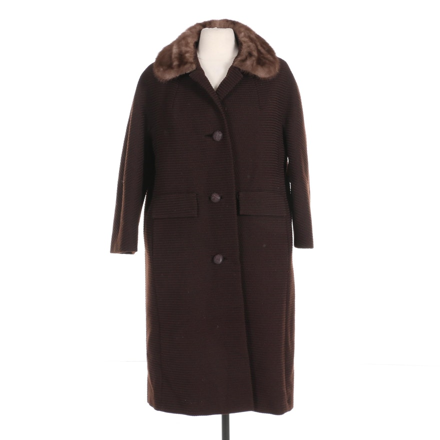 Town & Country Brown Ribbed Coat with Mink Fur Collar by H. P. Wasson & Co.