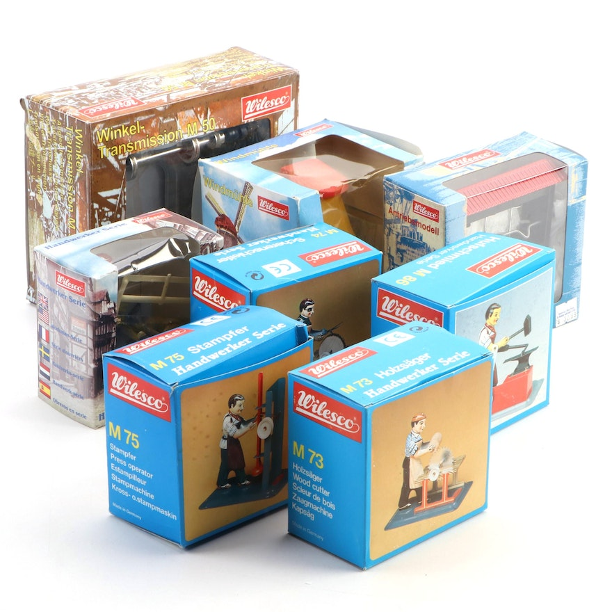 Collection of Wilesco Figurines and Train Track Accessories