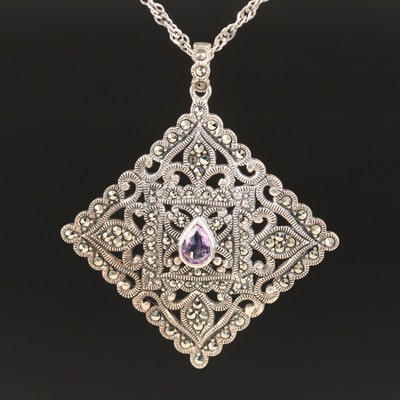 Sterling Silver Amethyst and Marcasite Openwork Pendant Necklace